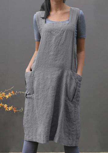 dress Cotton Linen Pinafore Cross Apron Garden Work Pinafore Dress Women Square Collar Suspender Dress Overall Pocket
