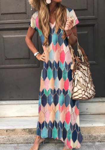 Women Summer Dress 2021 Printing Long Dresses Short Sleeves Anklet-Length Vestidos Beach Sexy Sundress Casual Maxi Dress