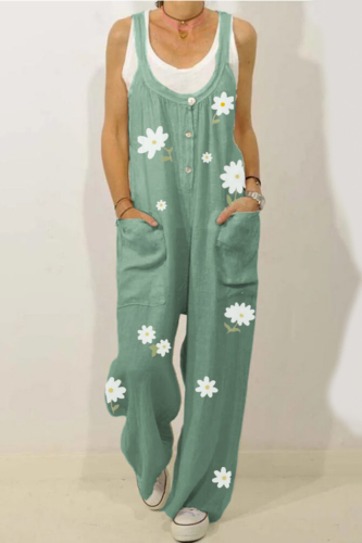 Women Jumpsuit Female Printed Vintage Flower Womens Jumpsuits Pockets Buttons Jumpsuit Bib Overall Dungarees