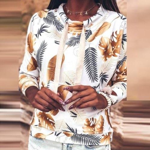 Autumn Retro Leaves Print Drawstring Hoodies Sweatshirt 2020 Women Elegant O-Neck Pullover Tops Ladies Casual Long Sleeve Hoodie