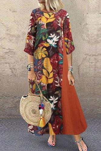 Vintage Floral Printed Women Sundress Autumn O Neck 3/4 Sleeve Cotton Linen Long Dress Female Patchwork Vestido Plus Size 5XL V