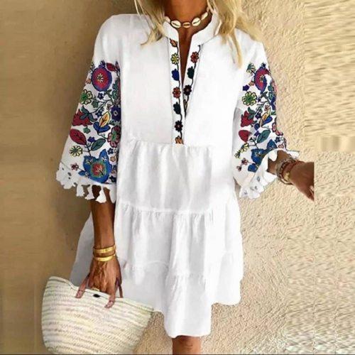 Plus Size 5XL Floral Print Boho Dress Women Tassle Sleeved White Mini A-Lline Dress 2020 Autumn New Sweet Bohemian Loose Dresses