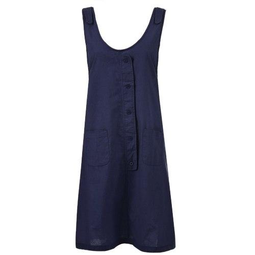High Quality Summer Dress Tide Causal Beach Dress Women Button O-Neck Midi Dresses Soild Pockets Office Dress Femme Vestidos