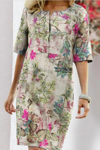Autumn Cotton Linen Dress 2020 Spring Button O-Neck Printing Knee Party Dress Women Long Sleeve Dresses Plus Size 4XL