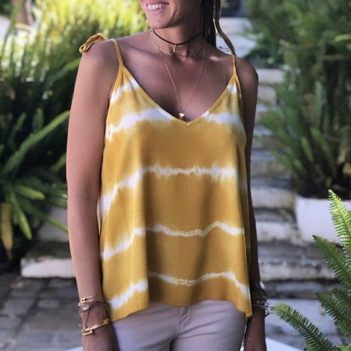 2020 Tank Top Women Casual Loose Comfortable Summer Camisoles Sleeveless V Neck Spaghetti Strap Boho Beach Sexy Vest Tops