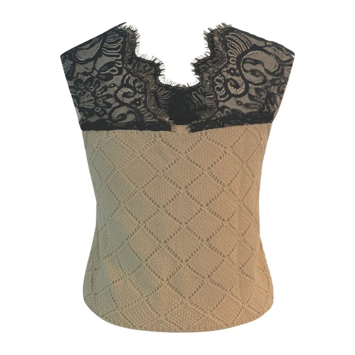40# Women's Sexy Tanks Lace Knitting Wool deep V-neck Casual Tanks Top spliced hollow Out Camis Women's tops топик женский топ