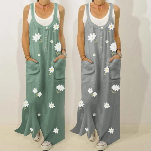 Women 's Spring and Summer Printing Jumpsuit