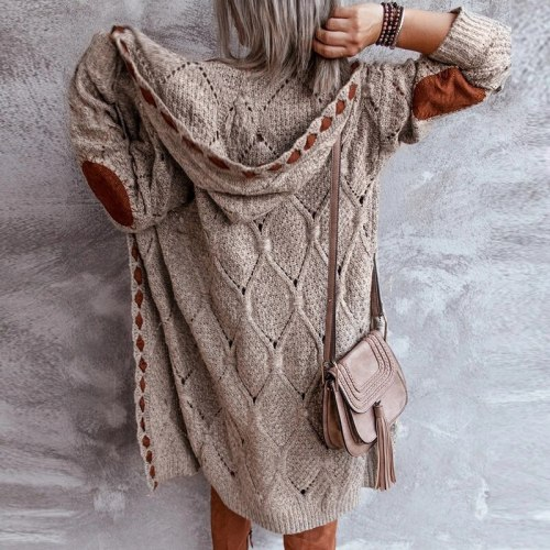 Autumn Vintage Print Long Cardigan Sweater Elegant Hooded Warm Long Sleeves Sweaters Winter Casual Women Knitted Patchwork Tops