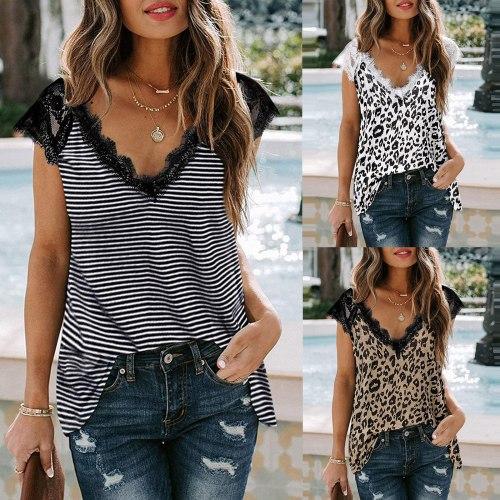2021 Women T-shirt Summer Casual Striped Sexy Leopard print V-Neck Lace Trim Sleeveless Tank Loose Tops Summer женские футболки