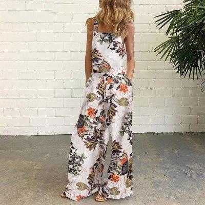 Vintage Print Jumpsuits Women Fashion Sleeveless Backless Loose Romper 2021 Elegant Casual Pocket Streetwear Female Playsuit 5XL