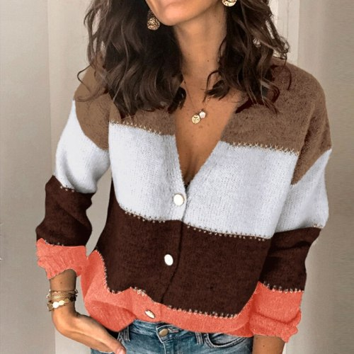 Autumn Fashion Patchwork Deep V Neck Sweater 2020 Casual Women Striped Knitted Sweaters Elegant Long Sleeve Button Pullover Tops