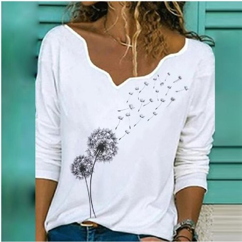 Elegant V Neck Long Sleeve T-Shirt Woman Dandelion Print Casual Shirts Fashion New Style Streetwear Women Tops Pullover