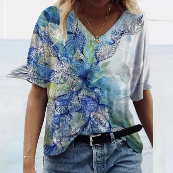 Women Elegant Floral Print Blouse Shirt 2021 Summer Sexy V Neck Short Sleeve Pullover Tops Ladies Casual Vintage Loose Blusa 3XL