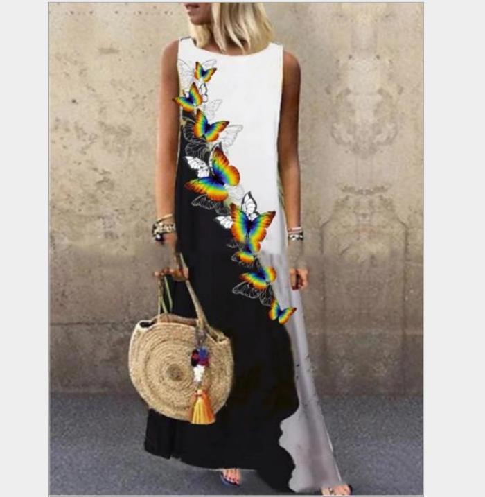 Sundress Women Summer Dress Printing Sexy Dress Midi Plus Size Casual Linen Loose Sleeveless printed Long Maxi Dress