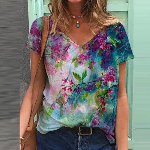 Women Casual 3D Printed Blouse Shirt 2021 Spring V-neck Slim Plus Size Tops Pullover Summer Short Sleeve Streetwear Blusas Mujer