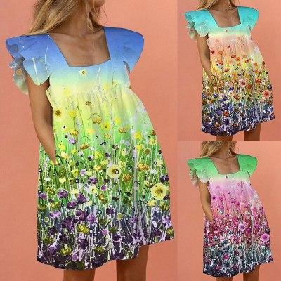 Sexy Ruffled Dress Women Floral Print Tie Dye Loose Mini Dresses Summer Elegant Short Sleeve Square Neck Boho Dress Vestidos