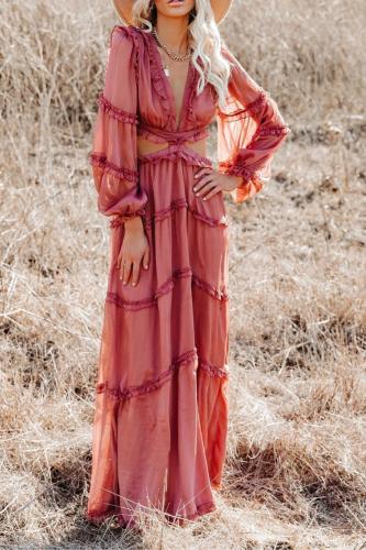 Summer 2021 Women's Sexy V-neck Lace Backless Overlap Chiffon Dress Elegant Lantern Sleeve Ruffled Casual Beach Dress