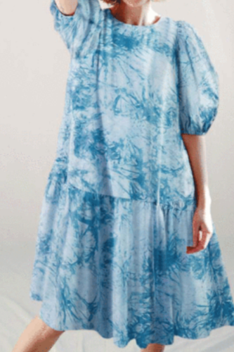 Summer Vintage Floral Print Dress Women Elegant Lady O-Neck Half Sleeve Dress Spring Bohemian Lantern Sleeve Loose Dress Vestido