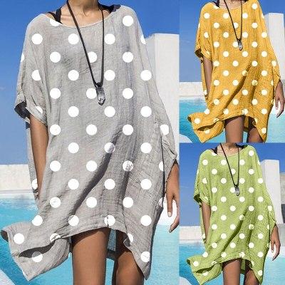Summer cotton dress women's short sleeve beach dress casual loose dress women's dress fashion clothing