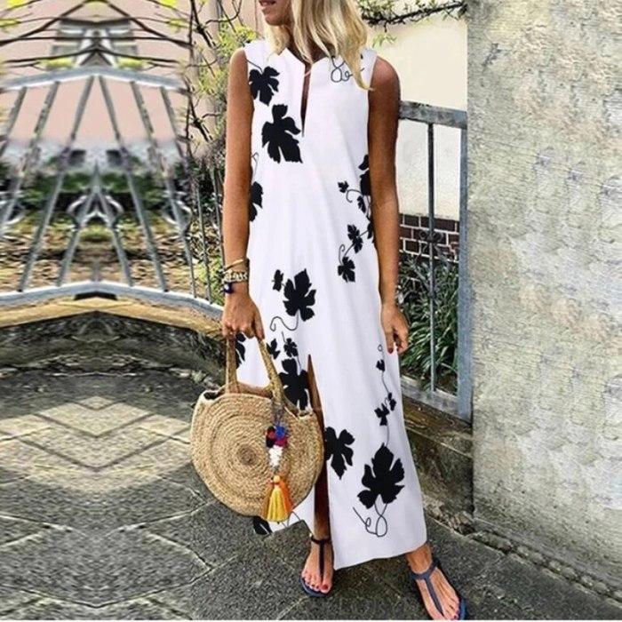 Elegant 2021Sleeveless O neck Leaves Print Dress Summer Office Lady Casual Long Dress Fashion Vintage Ankle-Length Dresses Vesti
