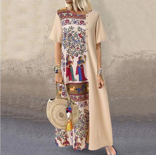 Women Bohemian Sundress Vintage Printed Patchwork Dresses Short Sleeve Vestidos Cotton Linen Baggy Beach Party Kaftan Robe Dress