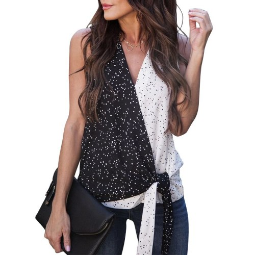Women's Summer New Polka Dot Lace Up Black and White Contrast Color Patchwork Casual Tank Tops FC890