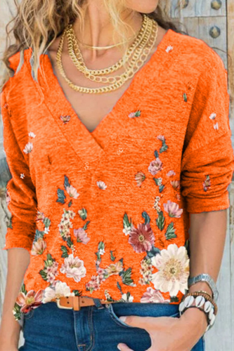 Elegant V-Neck Women Spring Autumn New Fashion Long Sleeve Pullover Tops Vintage Floral Print Lady Tee Shirts Plus Size 5XL