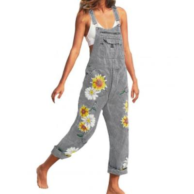 Plus Size S-5XL Women Playsuit Casual Bib Overall Dungarees Sunflower Print Pockets Denim Loose Overalls Sexy Jumpsuits