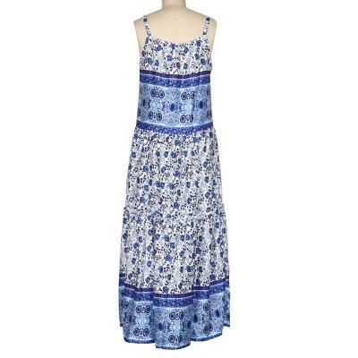 Women Floral Print Vintage Summer Dress 2020  Sleeveless Loose Casual Maxi Woman Homewear Dresses Plus Size 2XL Vestidos