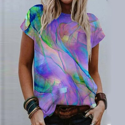 Summer Women O Neck Short Sleeve Shirt Spring Colorful Print Thin Pullover Top  Fashion Casual Loose Plus Size Blouse Blusa 5XL