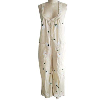 Plus Size s-5xl Womens Overalls Women Jumpsuits Stylish Button Sleeveless Marguerite Print Pockets Jumpsuit Bib Overall