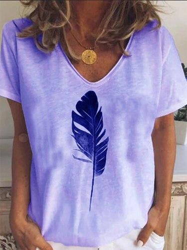 Vintage Feather Print Harajuku Shirt Tops Women 2021 Spring v-Neck Blouse Summer Casual Short Sleeve Loose Blusa Pullover