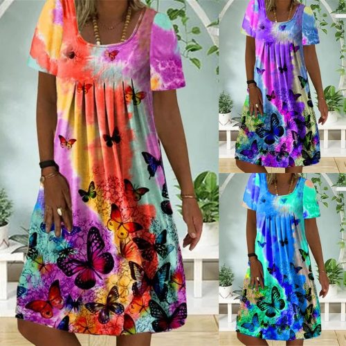 Women's Casual Fashion Dazzling Butterfly Print Round Neck Short Sleeve Dress
