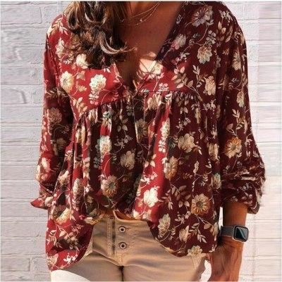 Women Elegant V-Neck Floral Print Blouse Shirts Autumn Vintage Long Sleeve Pullovers Tops Ladies Plus Size Pleated Blouses