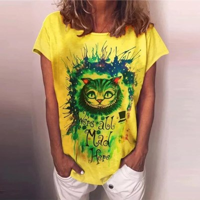 Vintage Cat Letter Print Harajuku Shirt Tops Women 2021 Spring Round Neck Blouse Summer Casual Short Sleeve Loose Blusa Pullover