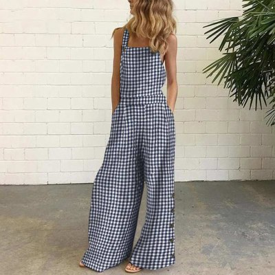 Plaid Print  Overalls Womens Jumpsuits 2021 Summer Solid Casual Long Playsuit Female Loose Button Rompers Women Playsuit