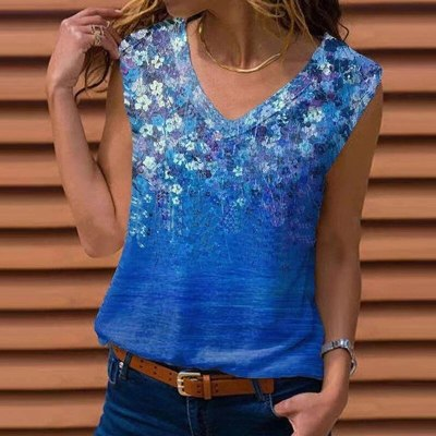 2021 Summer Vintage Floral Printed Loose Blouse Shirts Women Sexy V-Neck Pullover Tops Ladies 5XL Casual Sleeveless Vest Blusa