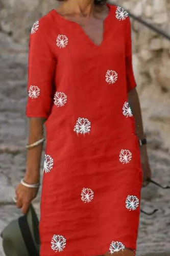 New Style Elegant Women Linen Cotton Dress V-Neck Half Sleeve A-Line Dresses Female Vintage Button Loose Dress Vestidos