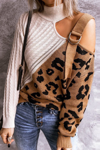 Women Elegant Hollow Out Long Sleeve Sweater Fashion Leopard Patchwork Pullover Knit Tops Autumn Turtleneck Off Shoulder Sweater