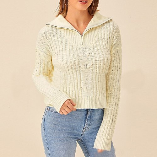 2020 Fall Street Casual Style Knit Sweater Sweater Ladies V-neck Elegant Lapel Hollow Pattern Long-sleeved Jacket Free Shipping