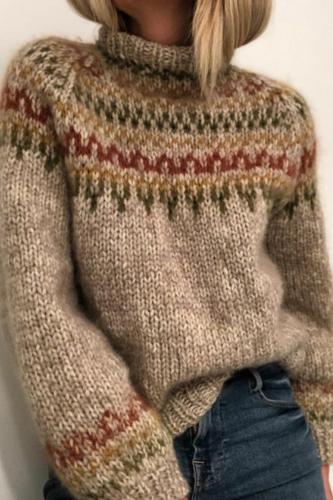 Women Patchwork Knitted Warm Sweater O-Neck Long Sleeve Leoaprd Print O-neck Sweaters Long Sleeve Casual Sweaters