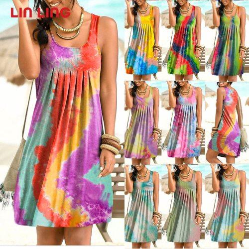 Sleeveless Tie Dye Women Dress Loose Vintage Beach Summer Boho Dress Casual Party Sexy Dress Plus Size 5XL Female 2021