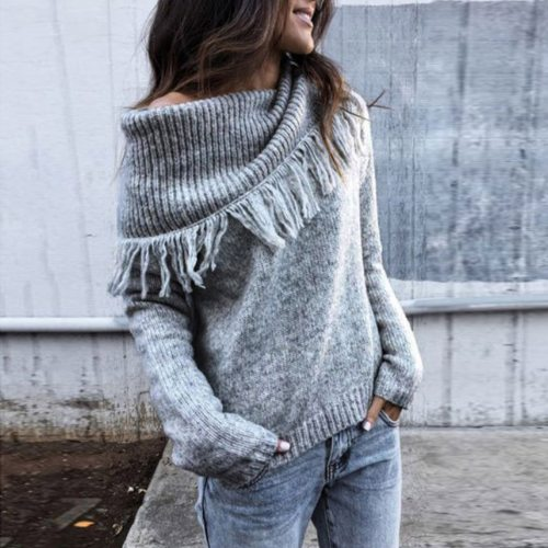 2020 Women Fashion Knitted Scarf Collar Sweater Thick Fleece Pullover Long Sleeve Sweaters Women Winter Clothes mujer suéteres