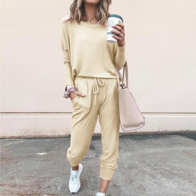 Autumn Winter Solid Full Sleeve T Shirt Top 2 Piece Sets Womens Outfits 2020 New Loose Causal Trousers Set Streetwear