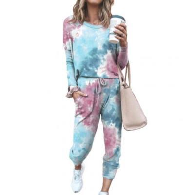 2Pcs Loungewear Women Pajama Set Tie Dye Jogger Suit Long Sleeve Round Neck Pants Sleepwear Loungewear Pyjamas Women HomeWear
