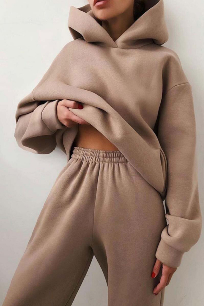 Autumn Winter Casual Loose Hooded Tops And Elastic Waist Pants Suit Women Elegant Solid Two-Piece Sweatsuit Fashion Streetwears