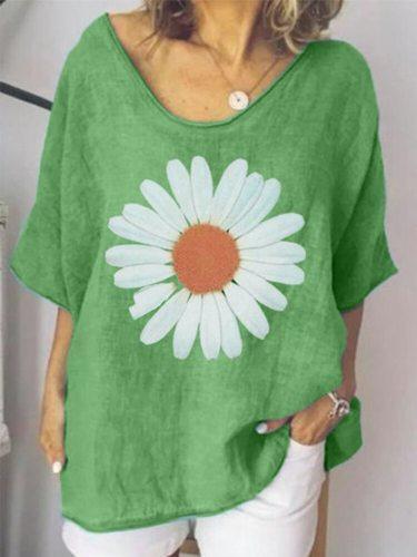 Tshirt Oversize Femme Daisy Print Short Sleeve T Shirt Clothes Women Plus Size 3XL 4XL 5XL XXXXL XXXXXL Summer Tee Shirt 2021