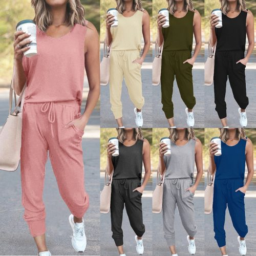 Summer Overalls For Women Jumpsuit Sleeveless Solid Color Slim Bodysuit Female Fashion Sashes Casual Streetwear Jumpsuits 2020