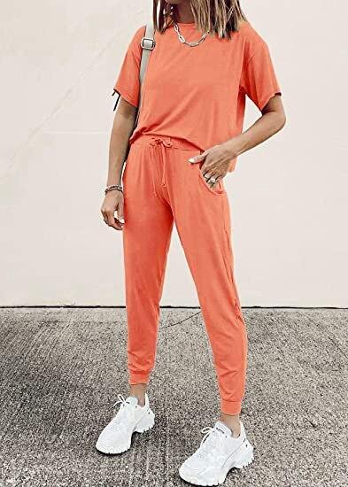 Solid Pajama Sets Long Sleeve t Shirt Elastic Waist Casual Pants Women Tracksuit Loose Pyjamas Women Pijama Mujer Homewear