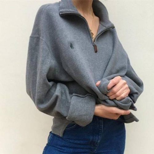 Casual Loose Design Fashion Preppy Style Clothes For Teens Vintage Zip Up Sweatshirt Women Oversized Warm Winter Pullover